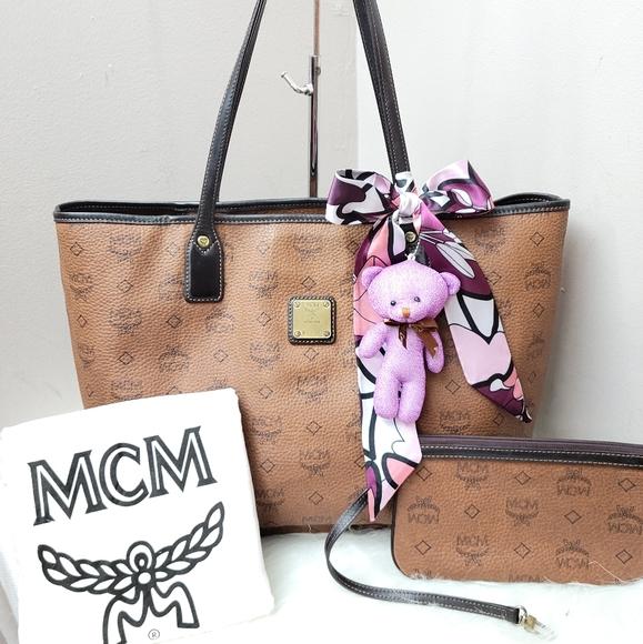 100% Authentic MCM leather shopper tote set
